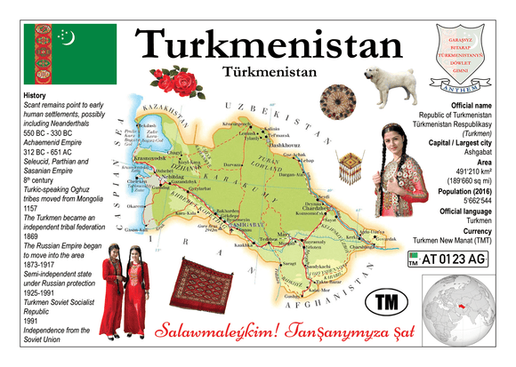 Asia | Turkmenistan MOTW - top quality approved by www.postcardsmarket.com specialists