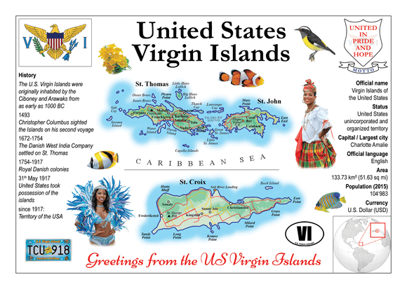 North America | U.S Virgin Islands MOTW - top quality approved by www.postcardsmarket.com specialists