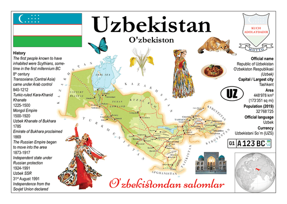 Asia | Uzbekistan MOTW - top quality approved by www.postcardsmarket.com specialists