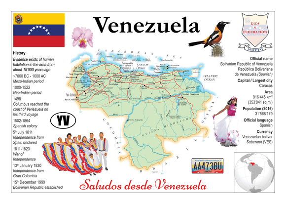 South America | Venezuela MOTW - top quality approved by www.postcardsmarket.com specialists