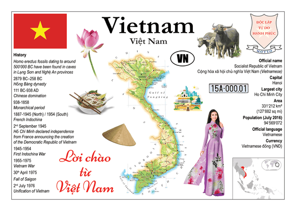 Asia | Vietnam MOTW - top quality approved by www.postcardsmarket.com specialists
