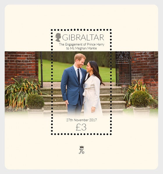 @2018 Royal Engagement Prince Harry & Meghan - Gibraltar Miniature Sheet - top quality approved by www.postcardsmarket.com specialists