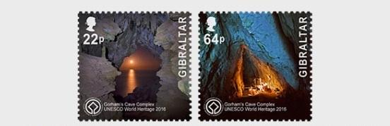 @2016 UNESCO Gorham's Cave Complex two stamp of 0.22+0.64 Pounds- Gibraltar stamps - www.postcardsmarket.com