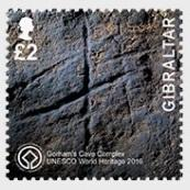 @2016 UNESCO Gorham's Cave Complex one stamp of 2 Pounds- Gibraltar stamps - www.postcardsmarket.com