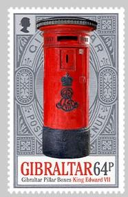 @2016 Pillar Boxes 64p Stamp - Gibraltar stamps - Postcards Market