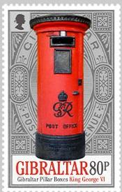 @2016 Mini sheet x 6 Pillar Boxes 80p Stamp - Gibraltar stamps - Postcards Market