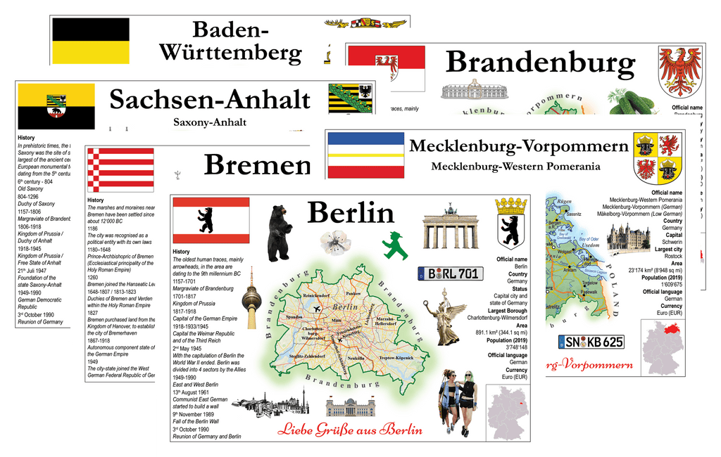Germany States - All Pack 16 Federal States -MOTW - Postcards Market