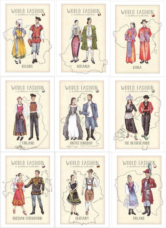 World Fashion Historical Collection - all 9 available postcards set - top quality approved by Postcards Market specialists