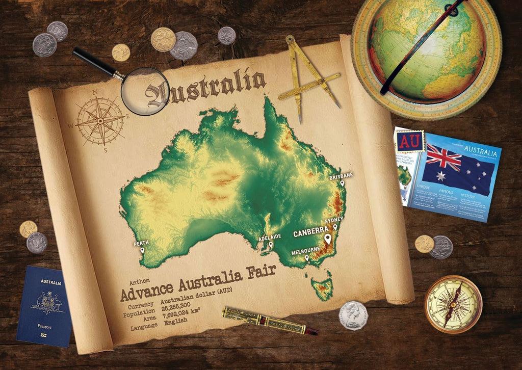 Australia Map Postcard World Explorer PWE - top quality approved by www.postcardsmarket.com specialists