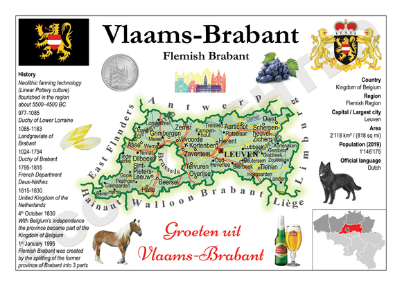 Belgium Province - Flemish Brabant MOTW (Vlaams Brabant) - top quality approved by www.postcardsmarket.com specialists
