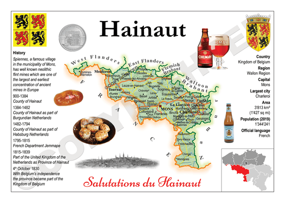 Belgium Province - Hainaut MOTW - top quality approved by www.postcardsmarket.com specialists