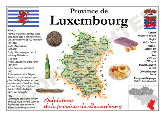 Europe | Belgium Province - Luxembourg MOTW x 3pieces - top quality approved by www.postcardsmarket.com specialists
