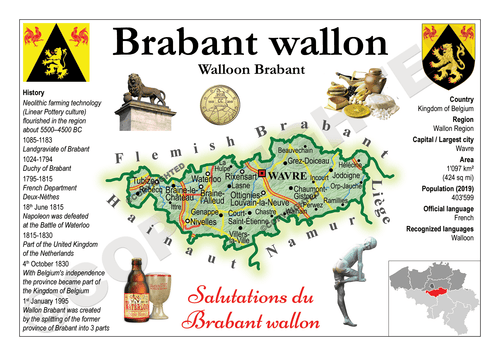 Europe | Belgium Province - Walloon Brabant MOTW (Brabant Wallon) x 3pieces - top quality approved by www.postcardsmarket.com specialists