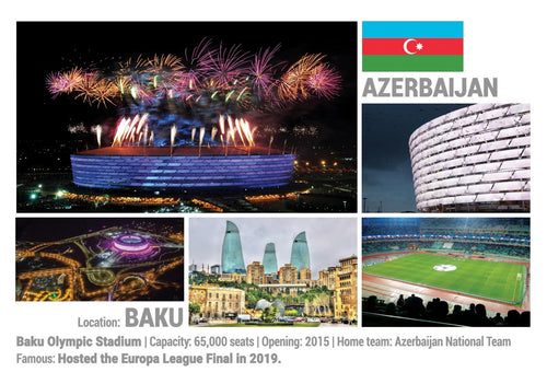 Photo: European Football Stadiums - Baku (x 5 pcs) - top quality approved by www.postcardsmarket.com specialists