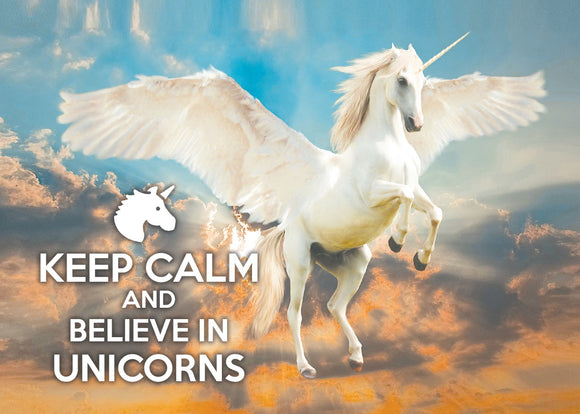Photo: Keep calm and Believe in Unicorns (bundle x 5 pieces) - top quality approved by www.postcardsmarket.com specialists