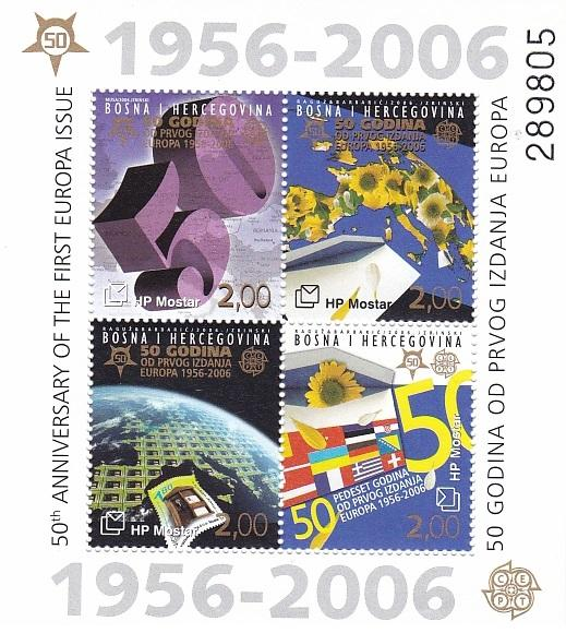 2005 Bosna I Hercegovina Croat Post HP Mostar 50th Anniversary of the first Europa Issue - Souvenir Sheet - Bosnia Herzegovina MNH Stamps - Postcards Market