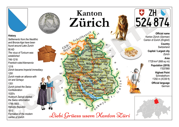 Swiss Cantons - Zurich MOTW - top quality approved by www.postcardsmarket.com specialists