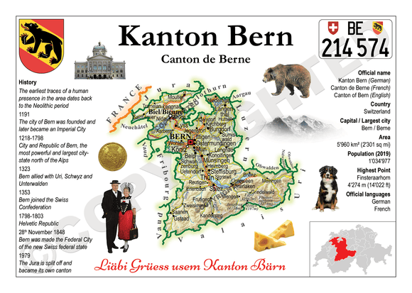 Swiss Cantons - Bern MOTW - top quality approved by www.postcardsmarket.com specialists