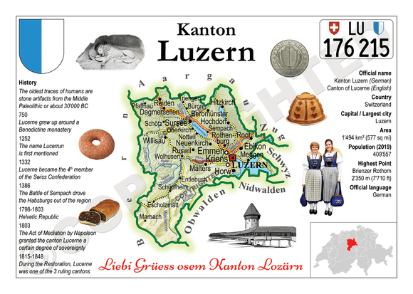 Swiss Cantons - Luzern MOTW - top quality approved by www.postcardsmarket.com specialists
