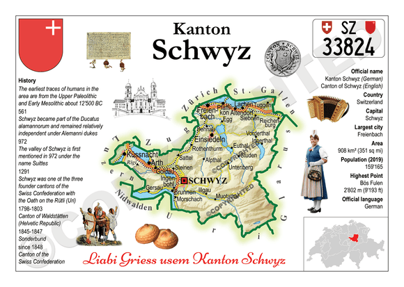Swiss Cantons - Schwyz MOTW - top quality approved by www.postcardsmarket.com specialists