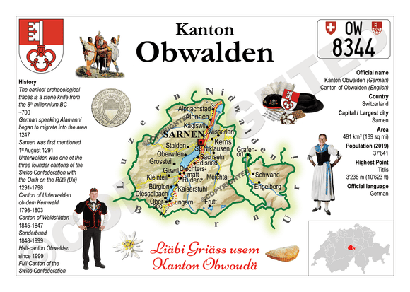 Swiss Cantons - Obwalden MOTW - top quality approved by www.postcardsmarket.com specialists