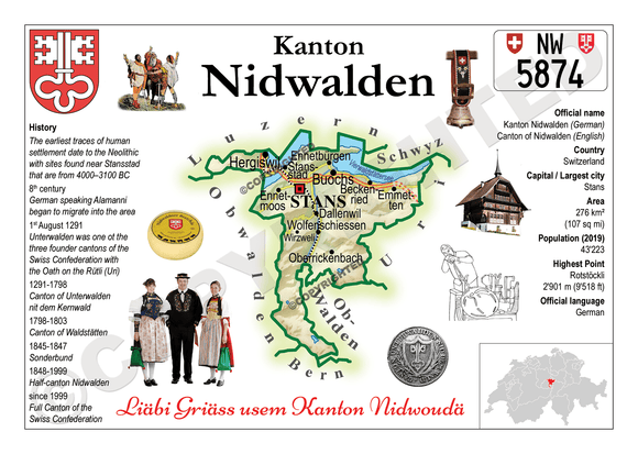 Swiss Cantons - Nidwalden MOTW - top quality approved by www.postcardsmarket.com specialists
