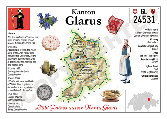 Swiss Cantons - Glarus MOTW - top quality approved by www.postcardsmarket.com specialists