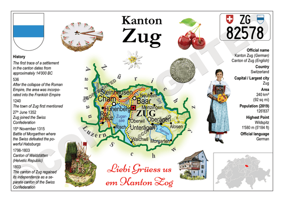 Swiss Cantons - Zug MOTW - top quality approved by www.postcardsmarket.com specialists