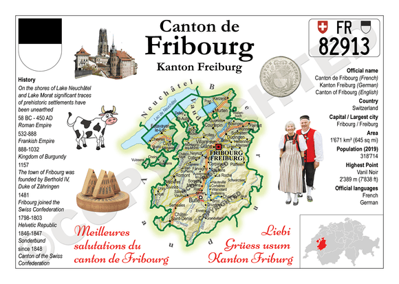 Swiss Cantons - Fribourg MOTW - top quality approved by www.postcardsmarket.com specialists