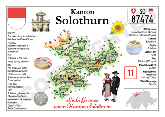 Swiss Cantons - Solothurn MOTW - top quality approved by www.postcardsmarket.com specialists
