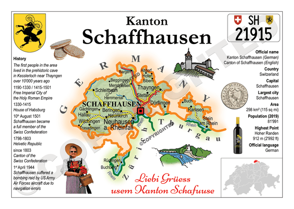 Swiss Cantons - Schaffhausen MOTW - top quality approved by www.postcardsmarket.com specialists