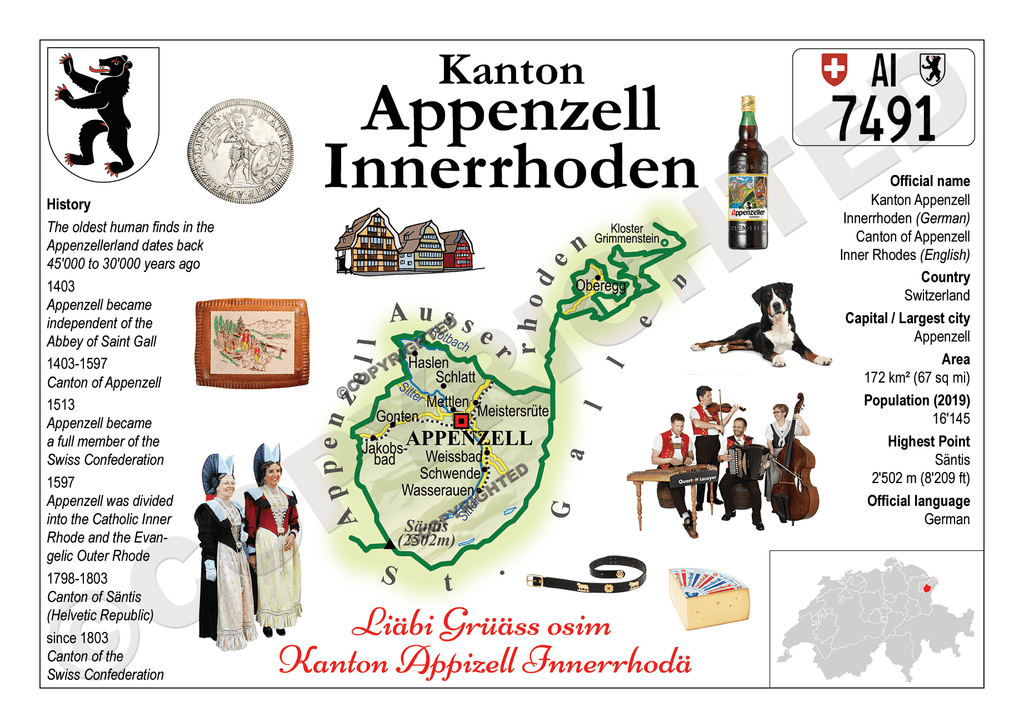 Swiss Cantons - Appenzell Innerhoden MOTW - top quality approved by www.postcardsmarket.com specialists