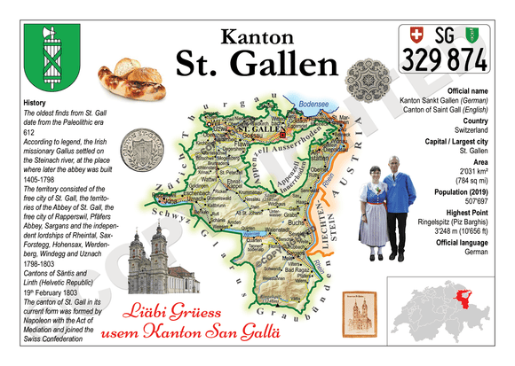Swiss Cantons - St. Gallen MOTW - top quality approved by www.postcardsmarket.com specialists