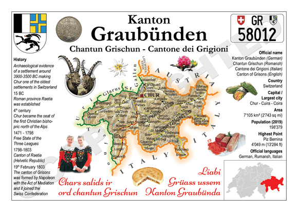 Swiss Cantons - Graubunden MOTW - top quality approved by www.postcardsmarket.com specialists