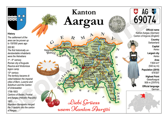 Swiss Cantons - Aargau MOTW - top quality approved by www.postcardsmarket.com specialists