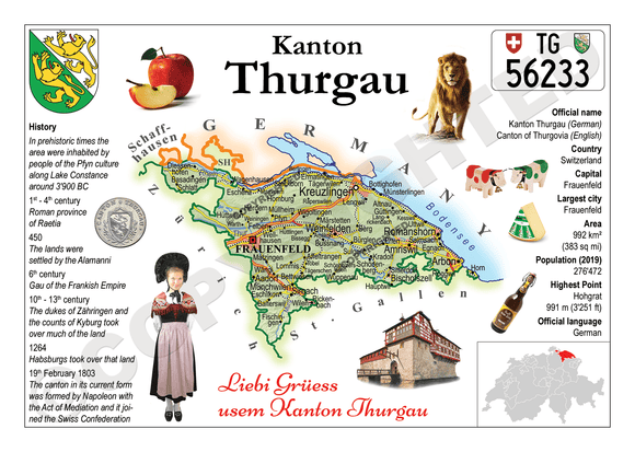 Swiss Cantons - Thurgau MOTW - top quality approved by www.postcardsmarket.com specialists