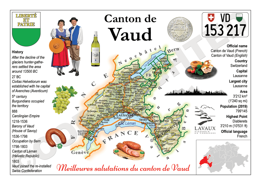 Europe | Swiss Cantons 022 - Vaud MOTW x 3pieces - top quality approved by www.postcardsmarket.com specialists