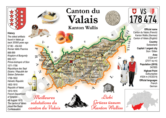 Swiss Cantons - Valais MOTW - top quality approved by www.postcardsmarket.com specialists