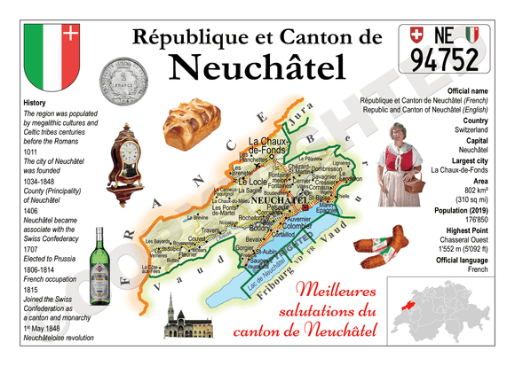 Swiss Cantons - Neuchatel MOTW - top quality approved by www.postcardsmarket.com specialists