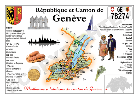 Swiss Cantons - Geneve MOTW - top quality approved by www.postcardsmarket.com specialists