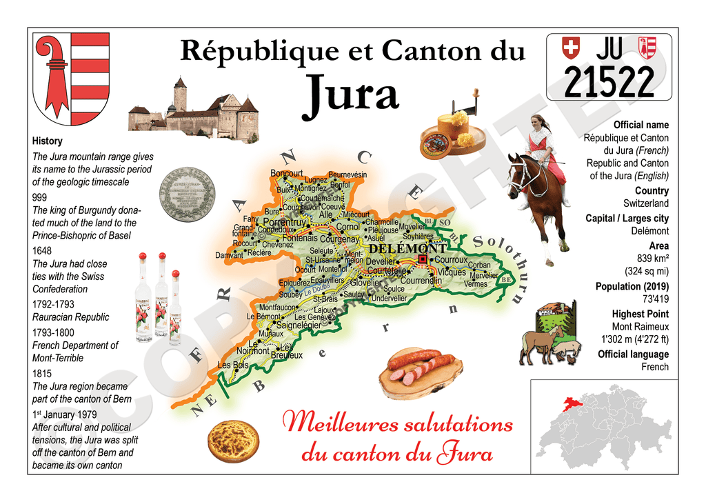 Swiss Cantons - Jura MOTW - top quality approved by www.postcardsmarket.com specialists