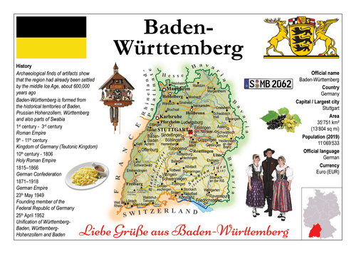 Europe | Germany States - Baden-Wurttemberg MOTW x 3pieces - top quality approved by www.postcardsmarket.com specialists