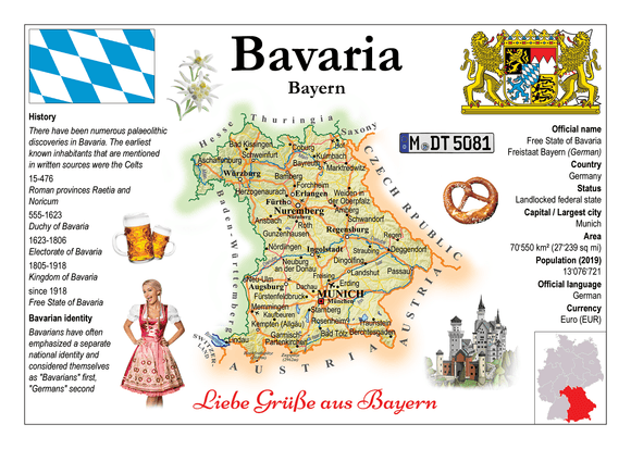 Europe | Germany States - Bavaria _ Bayern MOTW x 3pieces - top quality approved by www.postcardsmarket.com specialists