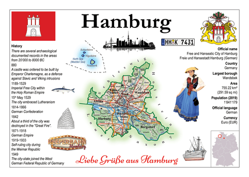 Europe | Germany States - Hamburg MOTW x 3pieces - top quality approved by www.postcardsmarket.com specialists