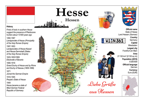 Europe | Germany States - Hesse _ Hessen MOTW x 3pieces - top quality approved by www.postcardsmarket.com specialists