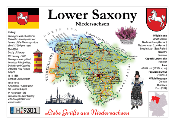 Europe | Germany States - Lower Saxony _ Niedersachsen MOTW x 3pieces - top quality approved by www.postcardsmarket.com specialists