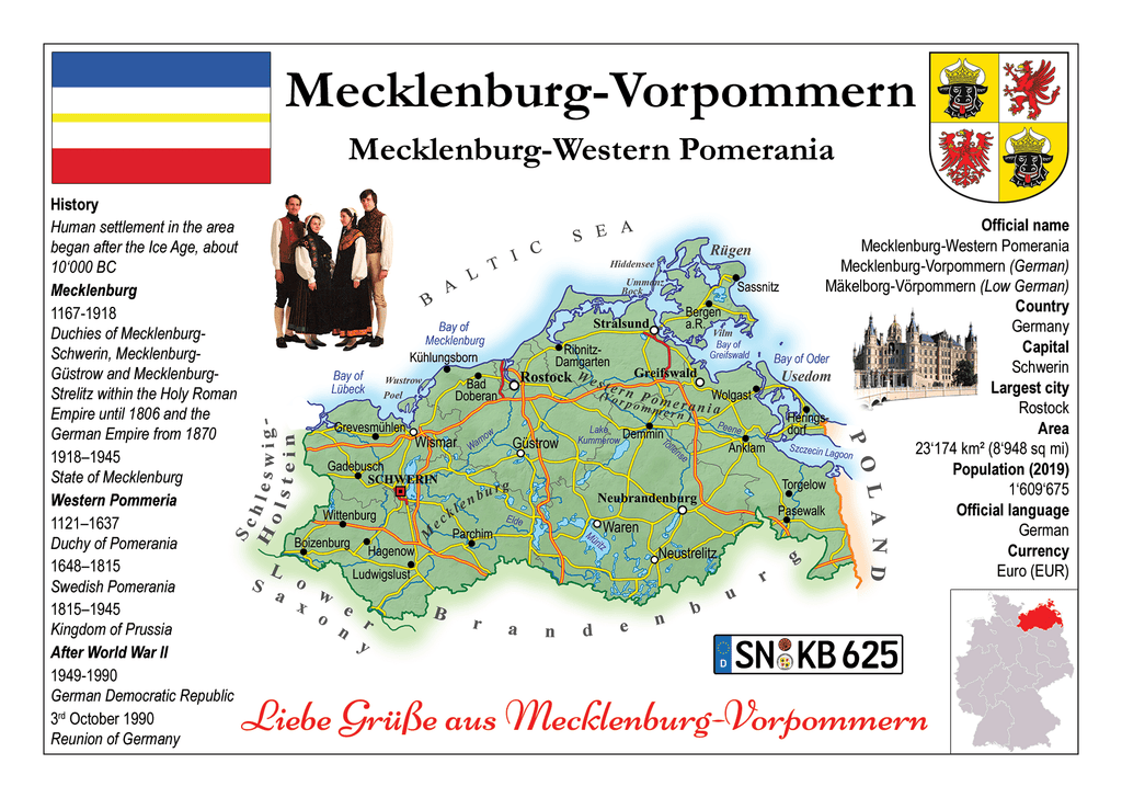 Europe | Germany States - Mecklenburg-Western Pomerania _ Mecklenburg-Vorpommern MOTW x 3pieces - top quality approved by www.postcardsmarket.com specialists