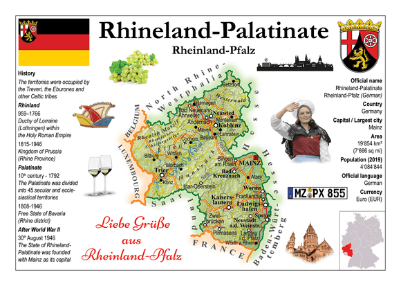 Europe | Germany States - Rhineland-Palatinate _ Rheinland-Pfalz MOTW x 3pieces - top quality approved by www.postcardsmarket.com specialists
