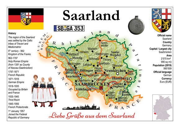 Europe | Germany States - Saarland MOTW x 3pieces - top quality approved by www.postcardsmarket.com specialists