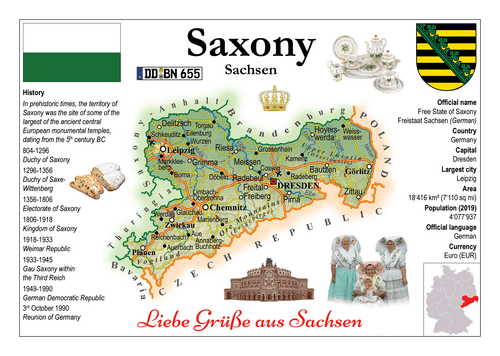 Europe | Germany States - Saxony _ Sachsen MOTW x 3pieces - top quality approved by www.postcardsmarket.com specialists